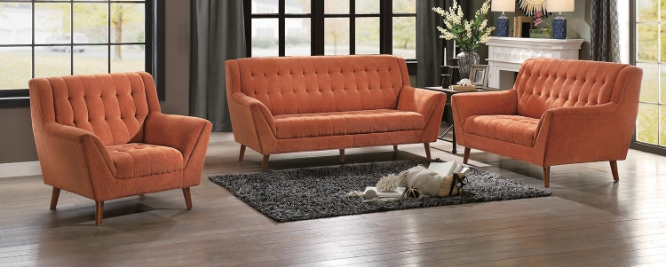 Erath Sofa Set - Orange Fabric