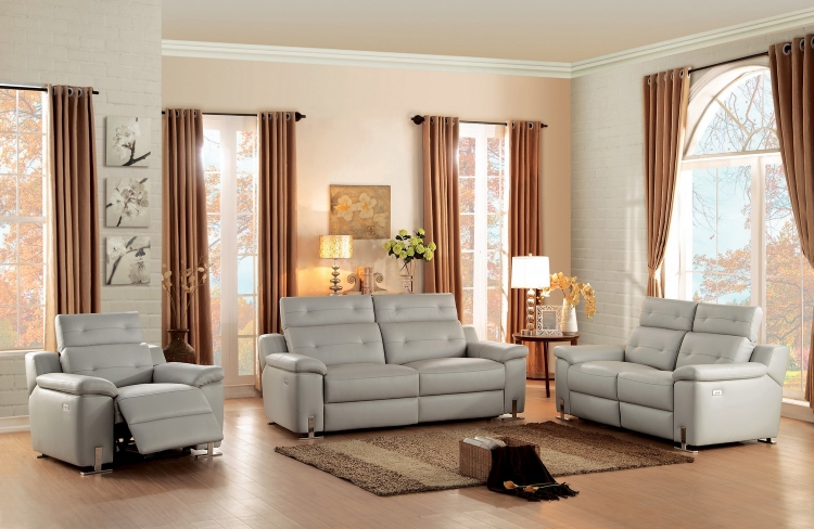 Vortex Power Reclining Sofa Set - Top Grain Leather Match - Light Grey