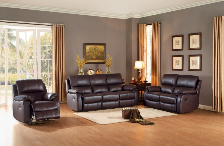 Jedidiah Reclining Sofa Set - Top Grain Leather Match - Chocolate
