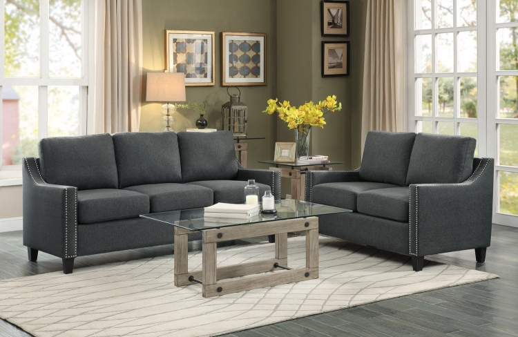 Pagosa Sofa Set - Polyester - Dark Grey
