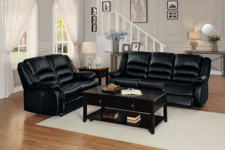 Jarita Reclining Sofa Set - Bi-Cast Vinyl - Black