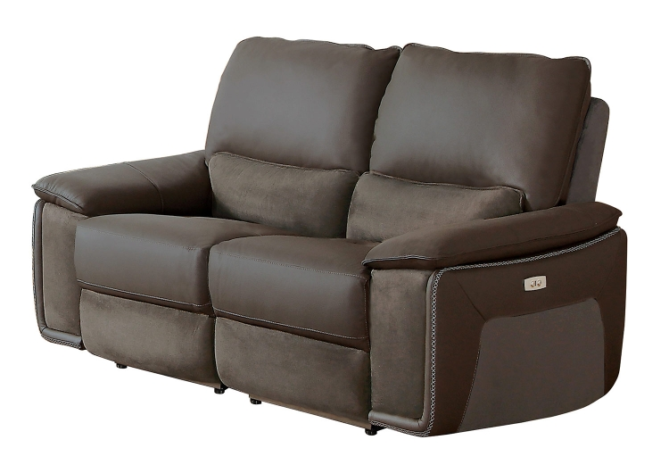 Corazon Power Double Reclining Love Seat - Navy Gray Top Grain Leather/Fabric
