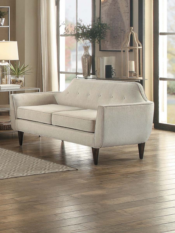 Ajani Love Seat - Beige Fabric