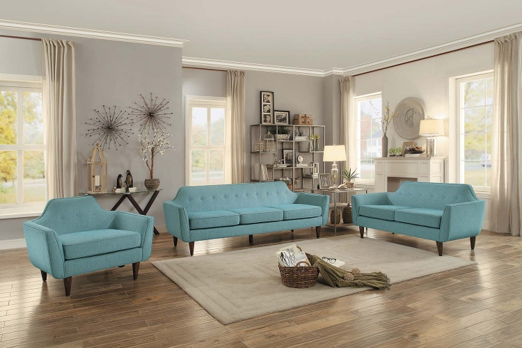 Ajani Sofa Set - Teal Fabric