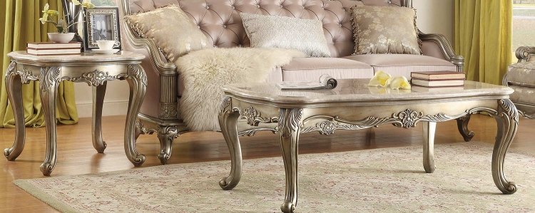 Fiorella Coffee Table Set - Silver/Gold