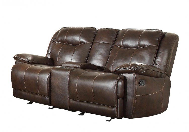 Wasola Double Glider Reclining Love Seat with Center Console - Leather Gel Match - Dark Brown