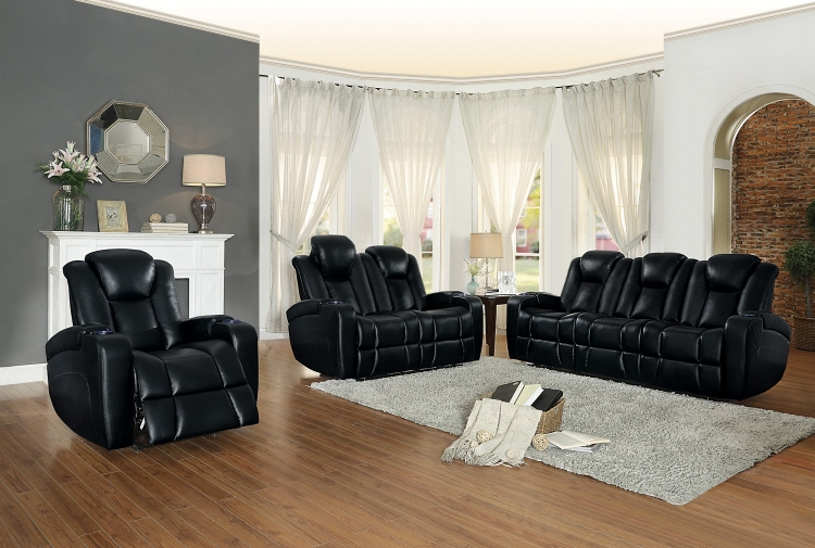 Madoc Power Reclining Sofa Set - Leather Gel Match - Black