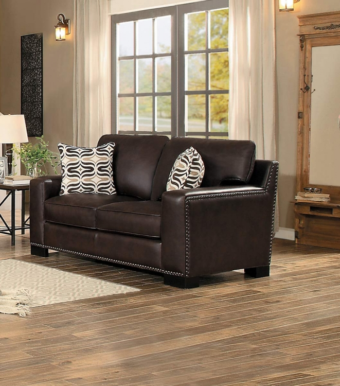 Gowan Love Seat - Dark Brown Leather Gel Match