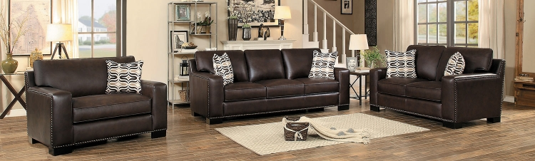 Gowan Sofa Set - Dark Brown Leather Gel Match