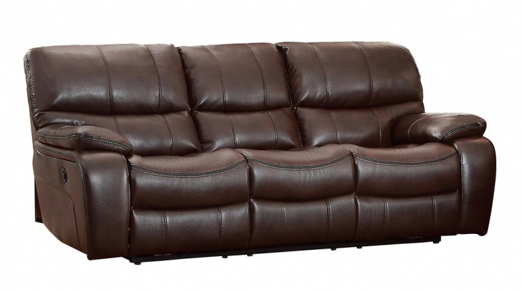 Pecos Power Double Reclining Sofa - Leather Gel Match - Dark Brown