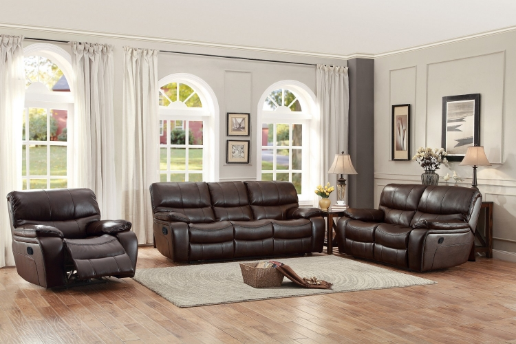 Pecos Reclining Sofa Set - Leather Gel Match - Dark Brown