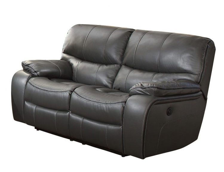 Pecos Power Double Reclining Love Seat - Leather Gel Match - Grey