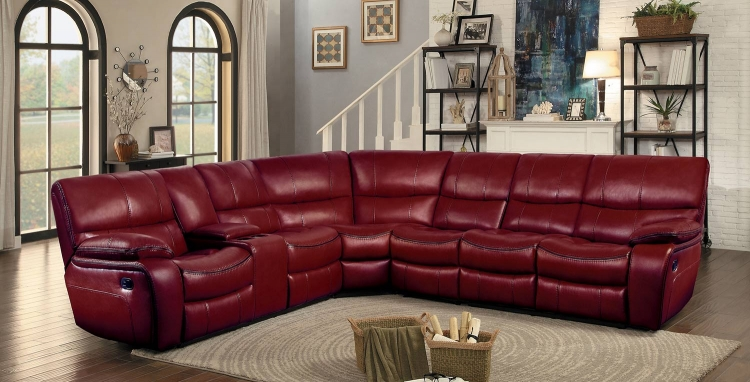 Pecos Reclining Sectional Set - Red Leather Gel Match