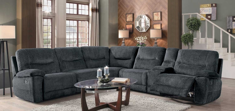 Columbus Reclining Sectional Set - Cobblestone Fabric