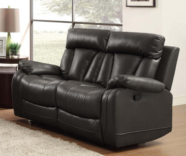 Ackerman Double Reclining Love Seat - Black Bonded Leather Match