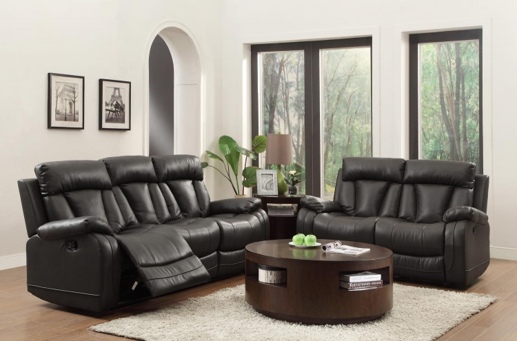 Ackerman Reclining Sofa Set - Black Bonded Leather Match