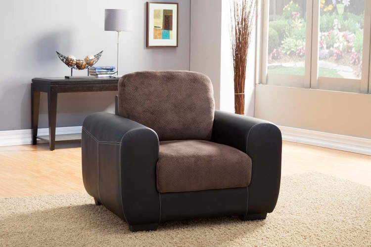 Edwin Chair - Chocolate - Textured Plush Microfiber & Bi-Cast Vinyl