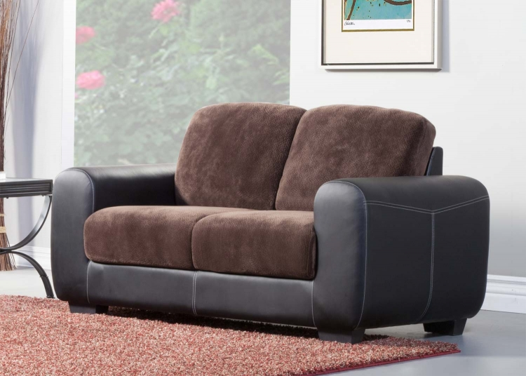 Edwin Love Seat - Chocolate - Textured Plush Microfiber & Bi-Cast Vinyl