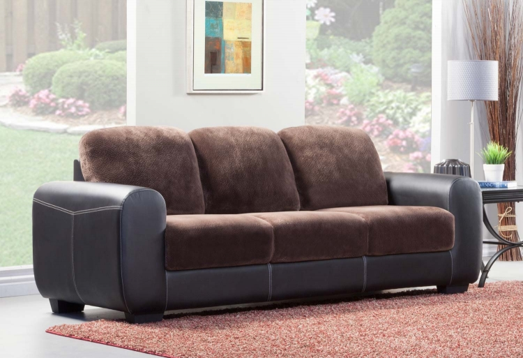 Edwin Sofa - Chocolate - Textured Plush Microfiber & Bi-Cast Vinyl