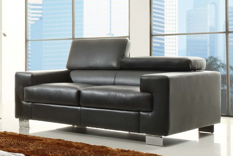 Vernon Love Seat - Black - Bonded Leather