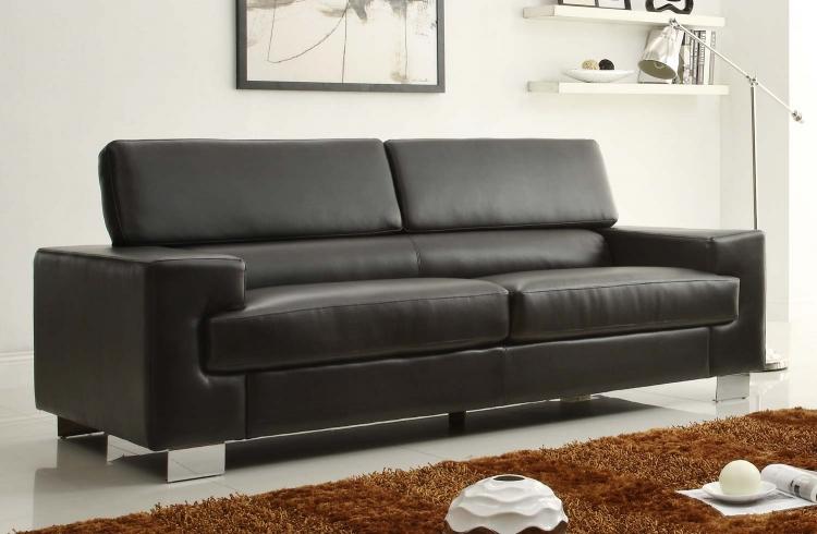 Vernon Sofa - Black - Bonded Leather