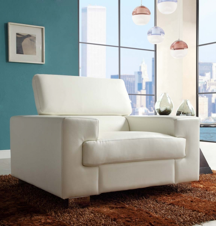 Vernon Chair   White   Bonded Leather
