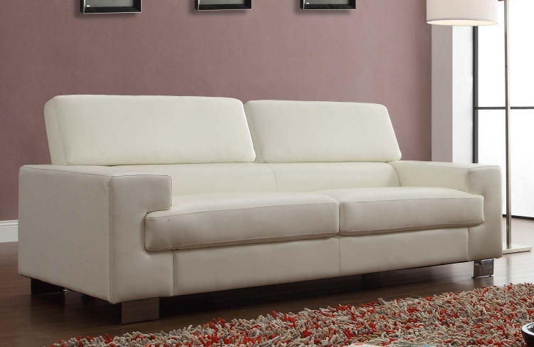 Vernon Sofa   White   Bonded Leather