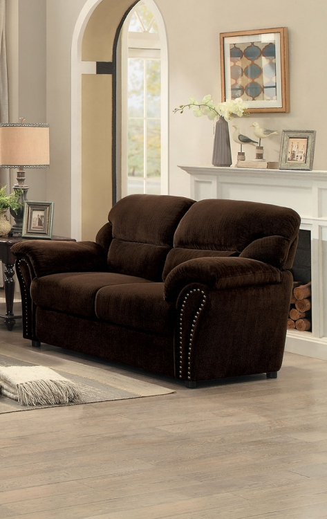 Valentina Love Seat - Dark Brown Fabric
