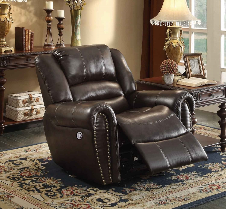 Center Hill Power Reclining Chair - Dark Brown