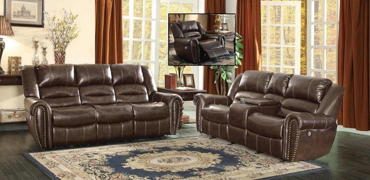 Center Hill Power Reclining Sofa Set - Dark Brown