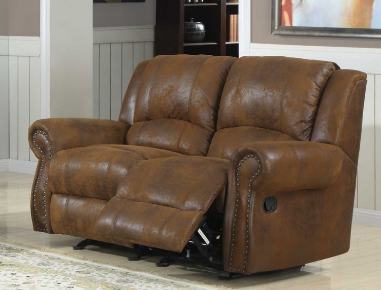 Quinn Double Glider Reclining Love Seat - Bomber Jacket Microfiber
