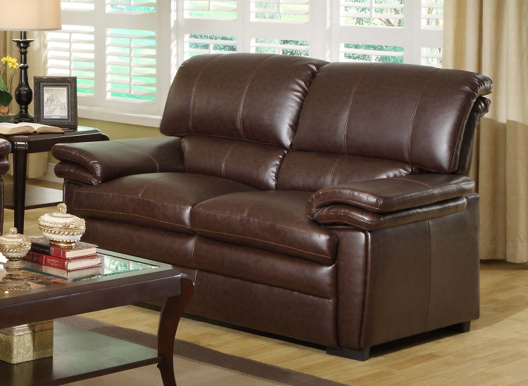 Constance Love Seat - Brown - Bonded Leather Match
