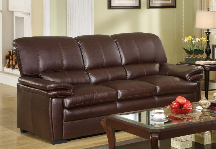 Constance Sofa - Brown - Bonded Leather Match
