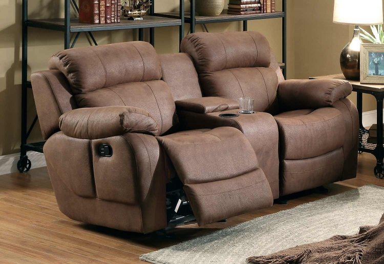 Homelegance marille sofa recliner with drop cup holder dark brown bonded leather match Reclining loveseat with center console