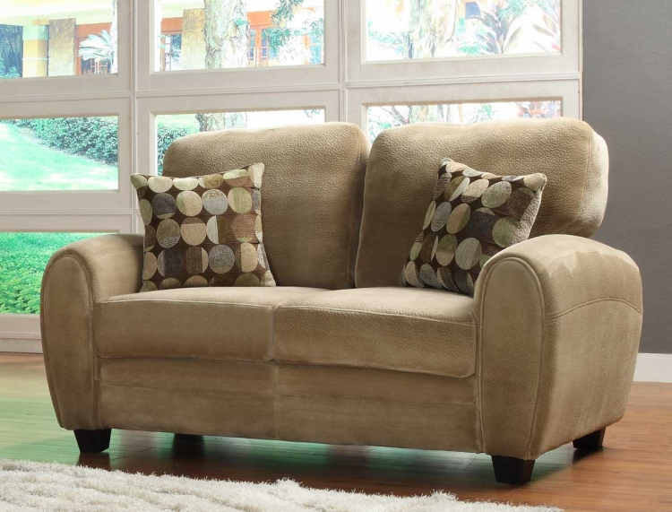 Rubin Love Seat - Brown Textured Microfiber