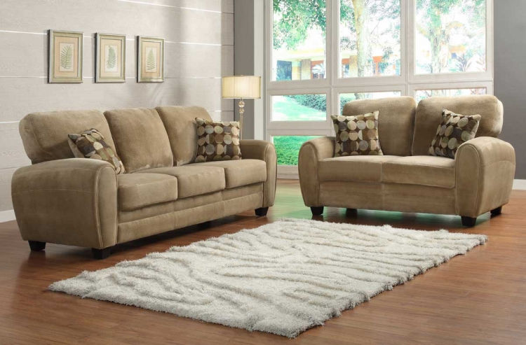 Rubin Sofa Set - Brown Textured Microfiber