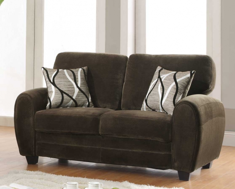 Rubin Love Seat - Chocolate Textured Microfiber