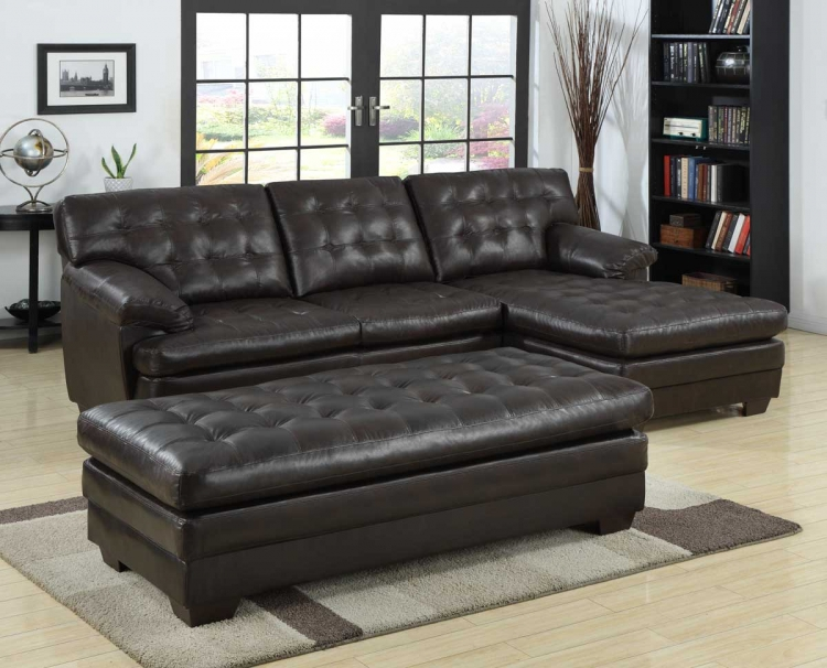 Brooks Sectional Sofa Set - Brown Bonded Leather