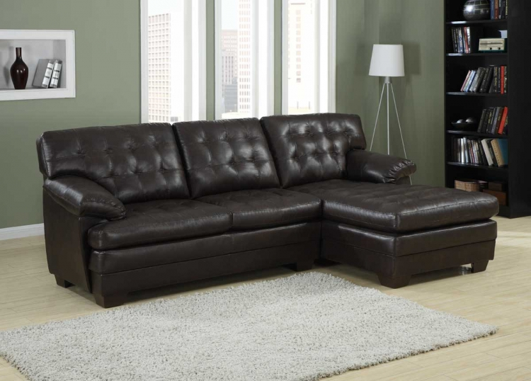 Brooks Sectional   Brown Bonded Leather