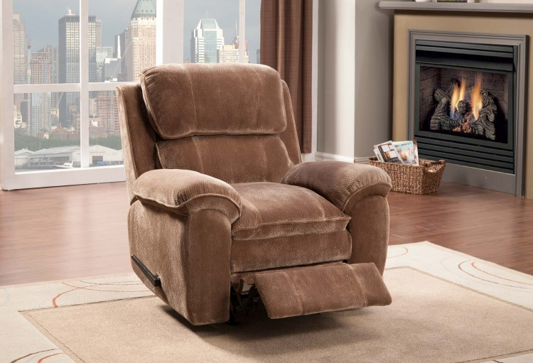 Reilly Chair Glider Recliner - Brown - Textured Plush Microfiber