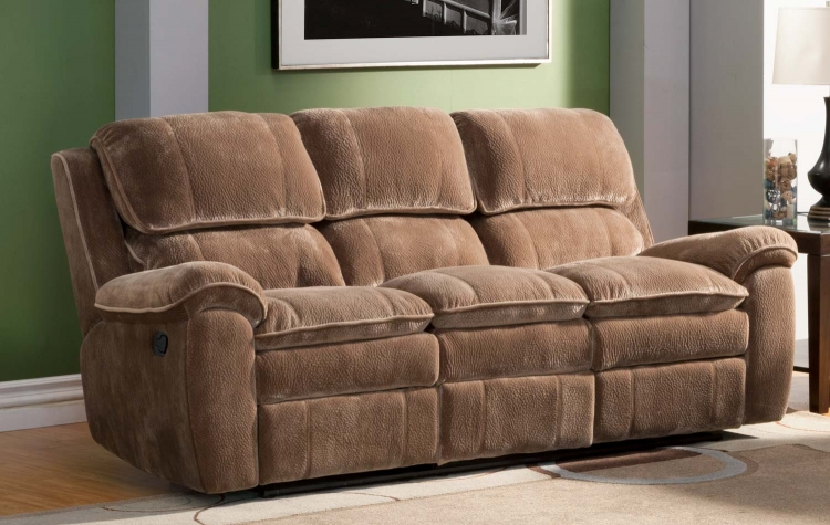 Reilly Sofa Double Recliner - Brown - Textured Plush Microfiber