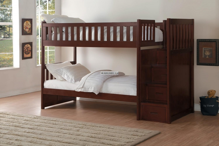 Rowe Twin over Twin Bunk Bed with Step Storage - Dark Cherry