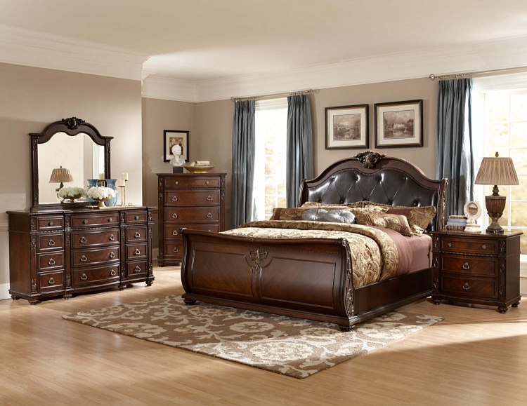 Hillcrest Manor Sleigh Bedroom Set - Cherry