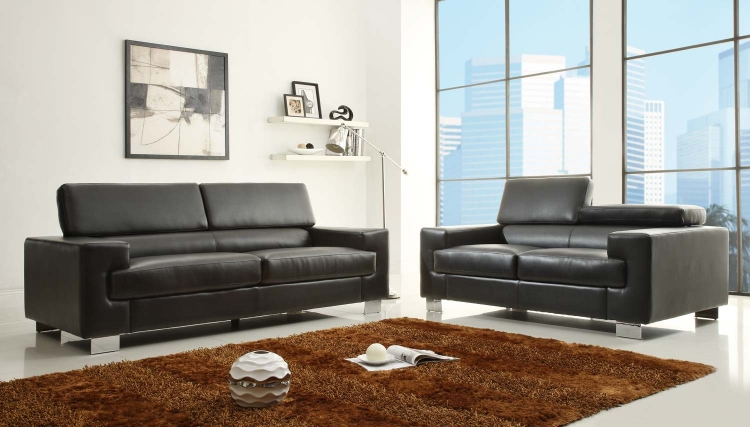 Vernon Sofa Set - Black - Bonded Leather