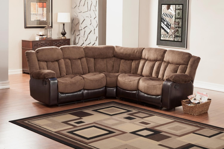 Vera Reclining Sectional Sofa - Chocolate - Textured Plush Microfiber & Bi-Cast Vinyl