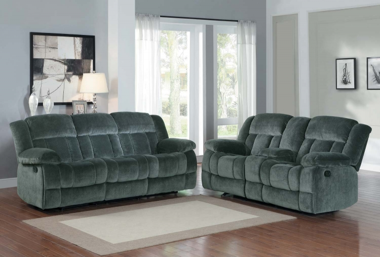 Laurelton Reclining Sofa Set - Charcoal - Textured Plush Microfiber