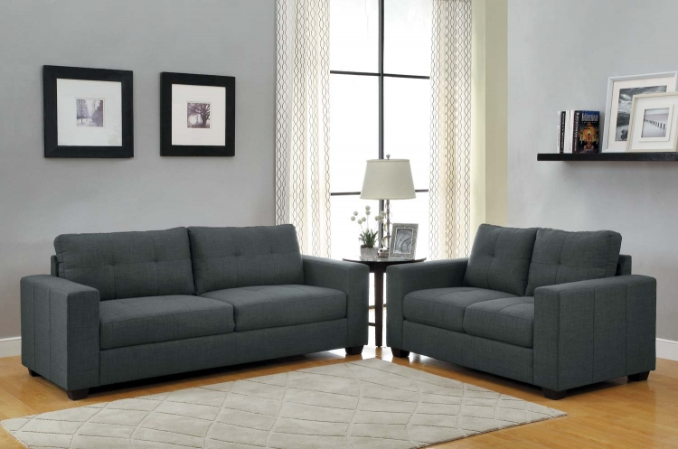 Ashmont Sofa Set - Dark Grey - Linen