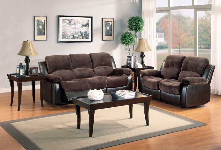 Cranley Reclining Sofa Set - Chocolate - Textured Plush Microfiber & Bi-Cast Vinyl