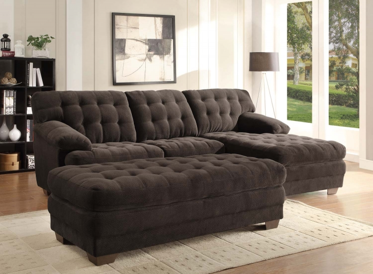 Brooks Sectional Sofa Set - Chocolate - Champion Microfiber