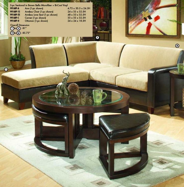 Glengate Sectional in Vinyl-Microfiber Combination